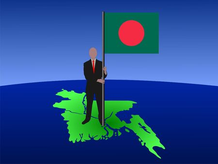 bangladesh: business man standing on map of bangladesh with flag