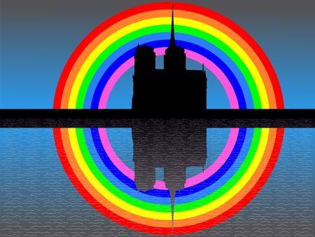 notre dame: Notre Dame Paris reflected with colourful rainbow Stock Photo