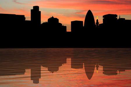 gherkin building: London Skyline including Gherkin and Monument at sunset illustration