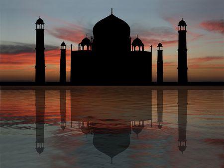 Taj Mahal India reflected at sunset illustration illustration