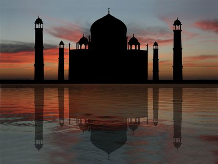 mausoleum: Taj Mahal India reflected at sunset illustration Stock Photo