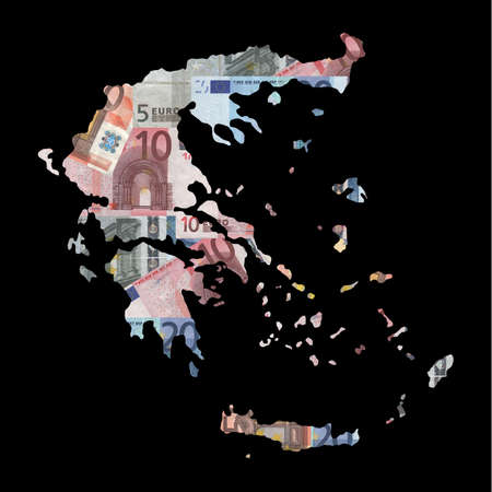 Map of Greece with collage of colourful euro notes illustration illustration