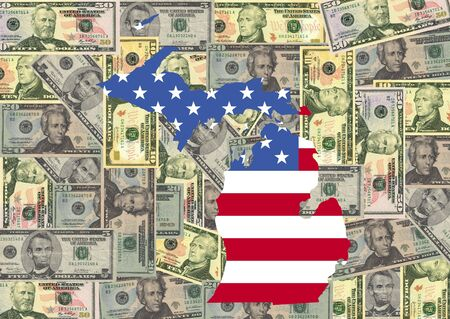 Map of Michigan with American flag and dollars illustration Stock Illustration - 2642233
