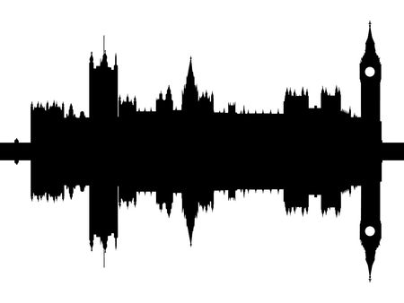 reflected: Houses of parliament London reflected isolated  Stock Photo
