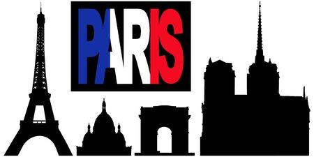 coeur: Parijs vlag tekst met bezienswaardigheden waaronder Eiffel tower, Arc de triomphe, de Sacre Coeur en Notre Dame