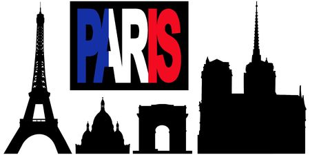 Paris flag text with landmarks including Eiffel tower, Arc de triomphe, Sacre Coeur and Notre Dame  Stock Photo