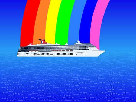 Cruise ship in ocean with rainbow illustration illustration