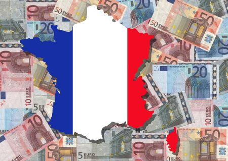 Map and flag of France with collage of colourful euro notes illustration Stock Illustration - 2650215