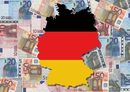 Map and flag of Germany with collage of colourful euro notes illustration illustration