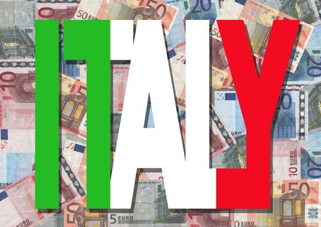 Italy text with collage of colourful euro notes illustration Stock Photo