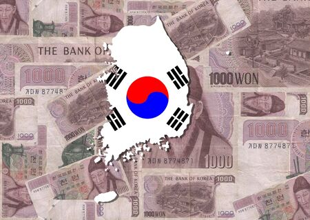 south korean won: Map and flag of Korea with collage of 1000 Won notes illustration Stock Photo