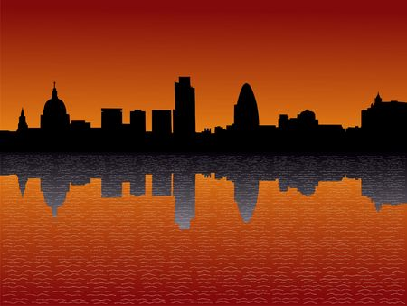 st pauls: London skyline including St Pauls and skyscrapers at Sunset Stock Photo