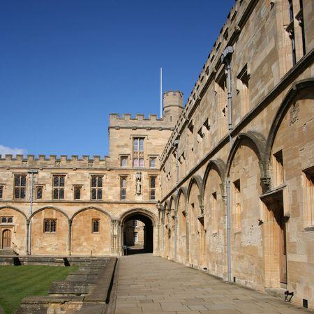 oxford: wall of Tom Quad Christ Church college Oxford