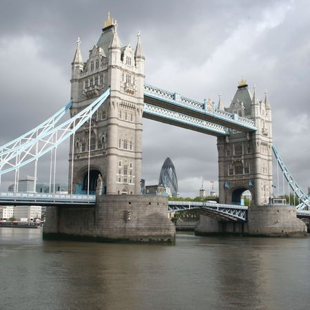Tower Bridge and London skyline on overcast day Stock Photo - 2650194