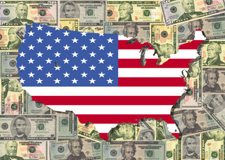 Map and flag of USA with American dollar bills illustration illustration