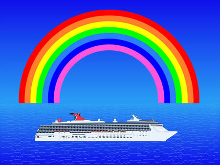 Cruise ship in ocean with rainbow illustration illustration