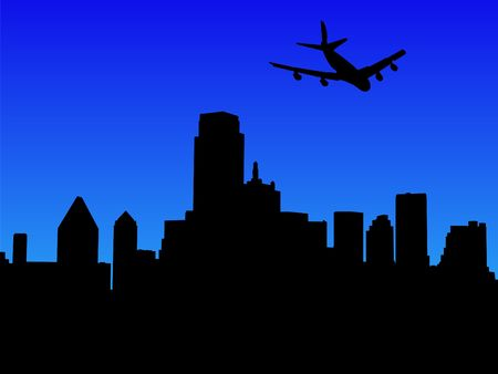 arriving: four engine plane arriving in Dallas illustration