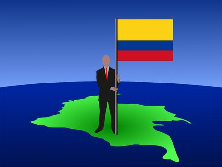 business man standing on map of Colombia with flag  photo