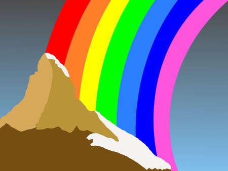 Matterhorn Switzerland with colorful rainbow illustration Stock Illustration - 2668763