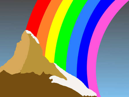 Matterhorn Switzerland with colorful rainbow illustration Stock Illustration - 2668763