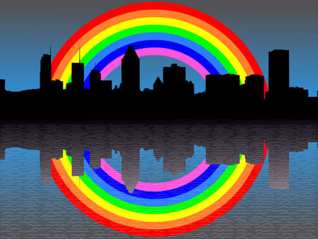 refracted: Montreal skyline reflected with colourful rainbow illustration