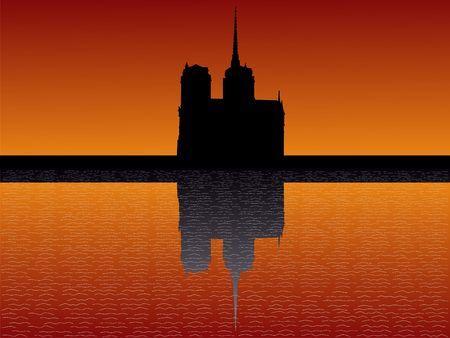 notre: Notre Dame Paris reflected at sunset illustration