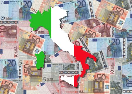 Map and flag of Italy with collage of colourful euro notes photo