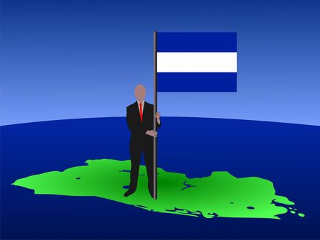 el salvador flag: business man standing on map of El Salvador with flag