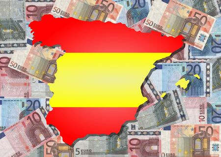 Map and flag of Spain with collage of colourful euros photo