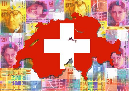 Map and flag of Switzerland with collage of colourful Swiss francs illustration illustration