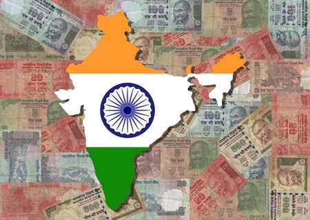 indian money: Map of India with Indian Rupees illustration