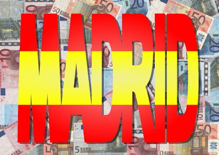 Madrid text with collage of colourful euro notes illustration illustration