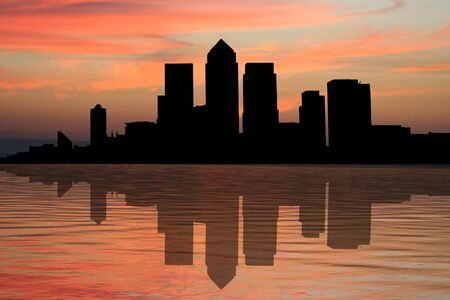 canary wharf: London Docklands Skyline at sunset with beautiful sky illustration