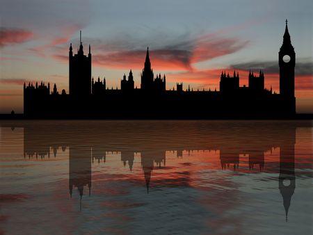 黄昏図で反射した議会ロンドンの住宅
