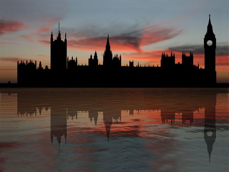 reflected: Houses of parliament London reflected at dusk illustration