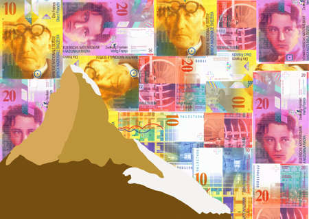 Matterhorn with colourful euros background Stock Photo - 2678323