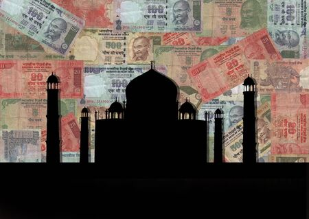 rupees: Taj Mahal India with colourful Rupees background