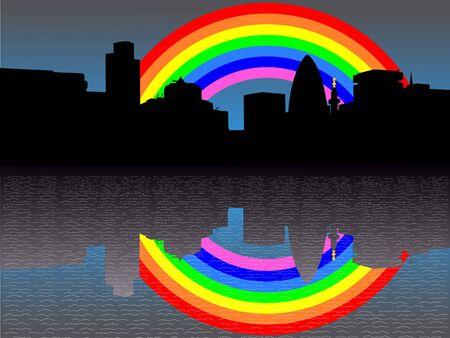 gherkin building: city of London Skyline including London Monument with rainbow