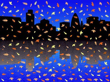 gherkin building: city of London Skyline including London Monument in autumn