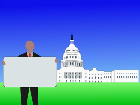 congressman: man with blank sign outside Capitol Building Washington DC