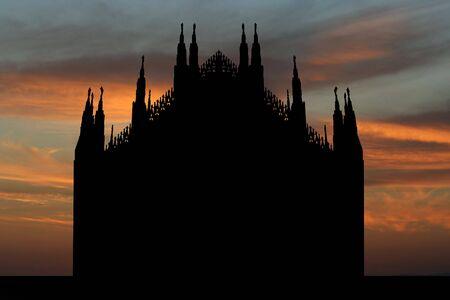 silhouette of Duomo Milan at sunset illustration illustration