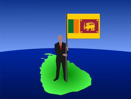 business man standing on map of Sri Lanka with flag photo