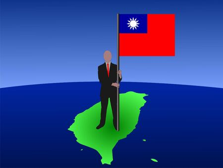 business man standing on map of Taiwan with flag  photo