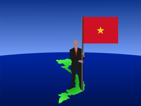 business Man On Map Of Vietnam With Flag illustration illustration
