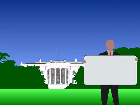 dc: man with blank sign outside White House Washington DC