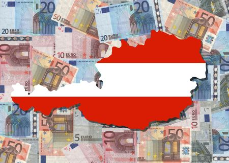 Map and flag of Austria with collage of colourful euro notes illustration Stock Illustration - 2702614