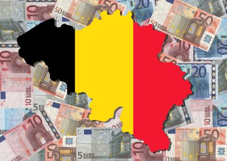 Map and flag of Belgium with collage of colourful euro notes illustration illustration