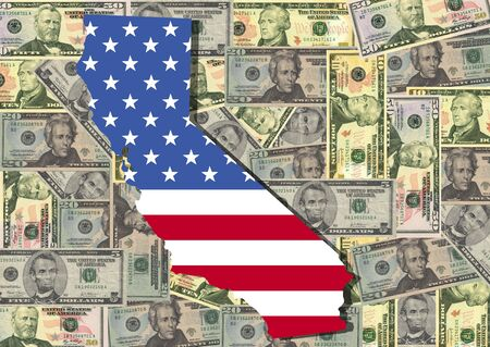 Map of California with American flag and dollars illustration illustration
