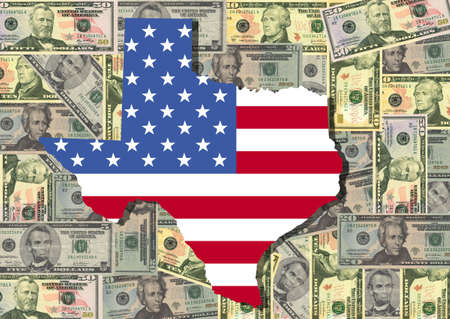 Map of Texas with American flag and dollars illustration illustration