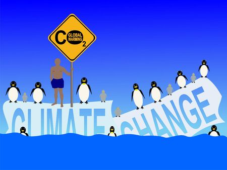 iciness: climate change with penguins and man in shorts illustration Stock Photo